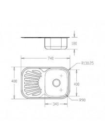 Кухонная мойка Fabiano 740-480 микродек. (0,80)
