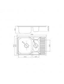 Кухонная мойка Fabiano 780-500 с фрукт. микродек. (0,80)