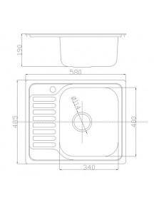 Кухонная мойка Fabiano 580-485 сатин (0,80)