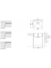 Кухонная мойка Fabiano Quadro 53x46