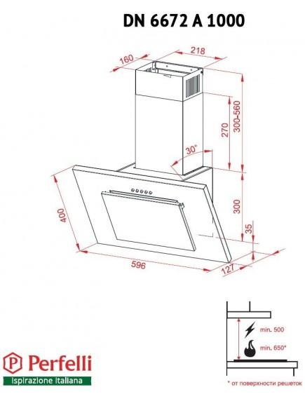 Вытяжка Perfelli DN 6672 A 1000 BL/I LED