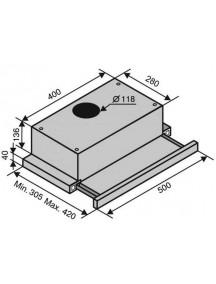 Вытяжка VENTOLUX GARDA 50 INOX (700) SLIM