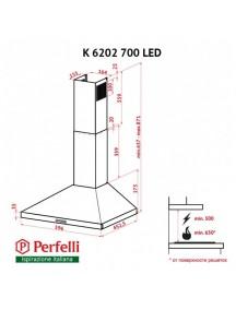 Вытяжка Perfelli  K 6202 SG 700 LED