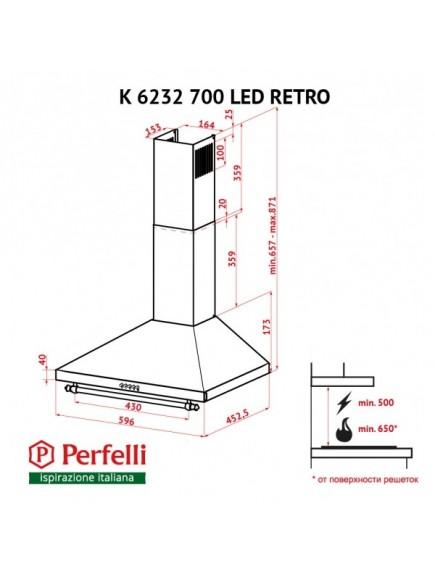 Вытяжка Perfelli K 6232 IV 700 LED RETRO