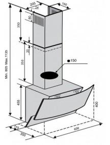 Вытяжка VENTOLUX WAVE 60 BK (1000) TRC MM